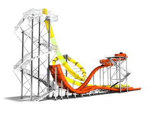 Yellow large water slide and small orange water slide for water park and beach fun in summer 3D render on white background with shadow