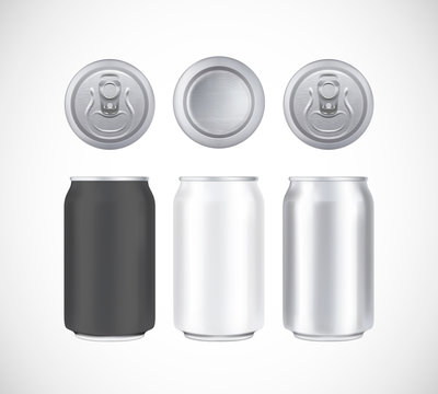 Aluminium beer pack. Metal, black and white can front, top and bottom view. Can vector visual 330 ml. For beer, lager, alcohol, soft drinks, soda advertising.