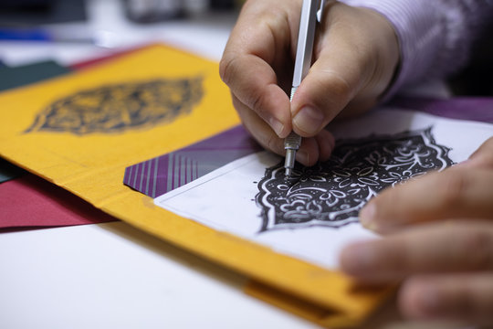 Book binder hand illustrating book covers