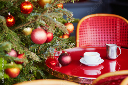 Beautiful Christmas Pictures.Outdoor Parisian Cafe With Beautiful Christmas Tree Stock