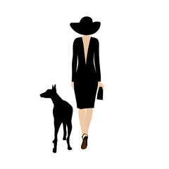 lady with black dog. Stylish woman walks with a black dog doberman. Dog walking lady vector silhouette.