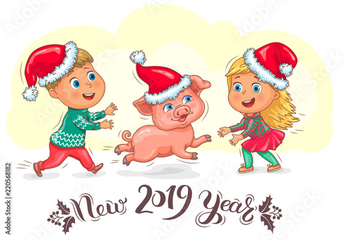 cute kids and little piggy new year 2019