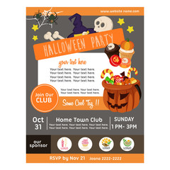 cute halloween party poster with candy treats