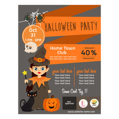 cute halloween poster with kid wizard flat style