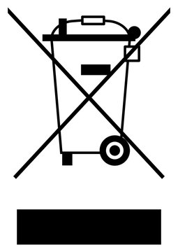 gz160 GrafikZeichnung - Directive - WEEE - waste electrical and electronic equipment - electrical parts marked with the WEEE-Symbol - black simple template - white background  - xxl A3 A4 g6551