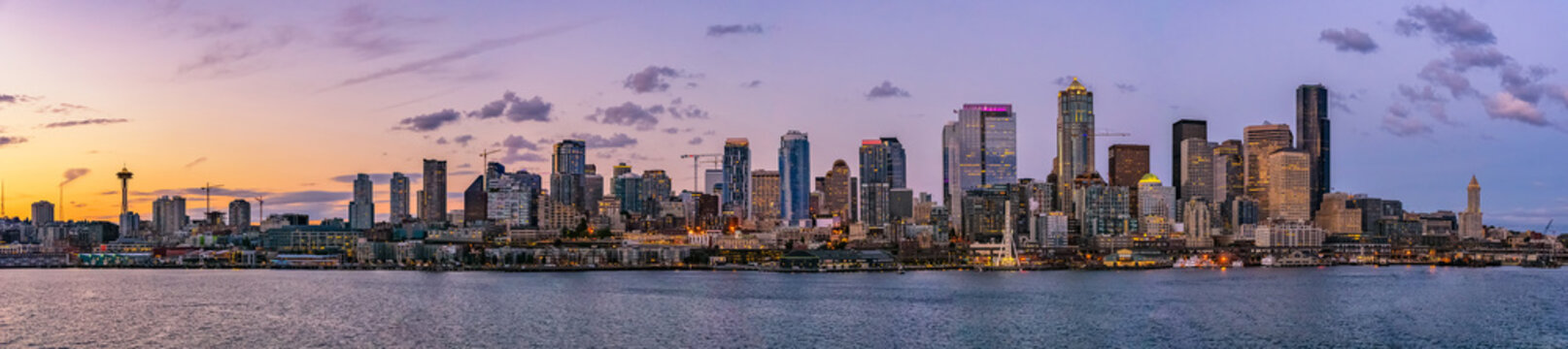 Beautiful Seattle skyline or cityscape from Elliot Bay, Puget Sound, at dusk or sunrise, Washington state, USA.