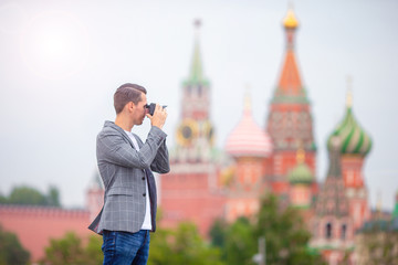 Professional photographer taking a city photo
