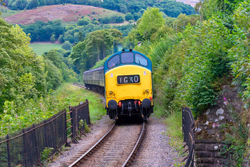Diesel locomotive  train from the Llangollen railway