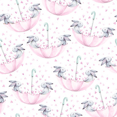 Watercolor seamless pattern. Wallpaper with  fantasy bunneis cartoon animals on white background. Hand drawn vintage texture.