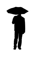 Silhouette of man with an umbrella on white background.