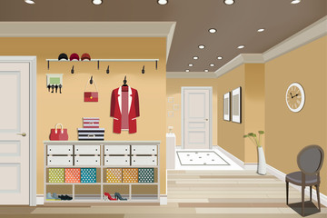 Illustration of an interior of a dressing room with clothes and an entrance door.