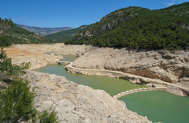 The reservoir of Ulldecona practically empty in june 2018 because of lack of rains, Province of Castellon, Valencian Community, Spain