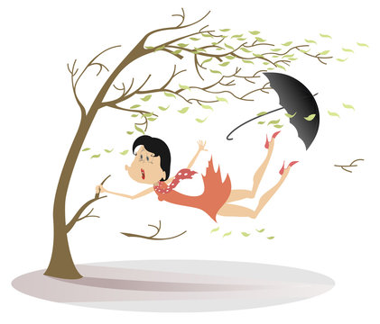 Strong wind, umbrella and woman snatches up a tree illustration. Strong wind, flying leaves and a woman lost umbrella trying to keep his life snatching a tree isolated on white illustration