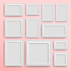 Set frames. Photo art gallery. Picture frame – stock vector