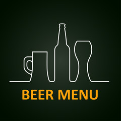 Beer menu page mug with froth glass – stock vector