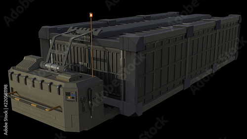 """Transport Container and Trailer - science fiction illustration isolated on black"" Stock photo and royalty-free images on Fotolia.com - Pic 220581198"