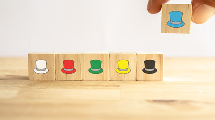 six thinking hats concept, the success way to under the human wear which hat when talking about, the hats including feeling/emotion, creativity, awareness, control, positive thinking, facts Wall mural