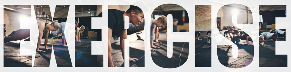 Collage of people doing pushups while exercising in a gym