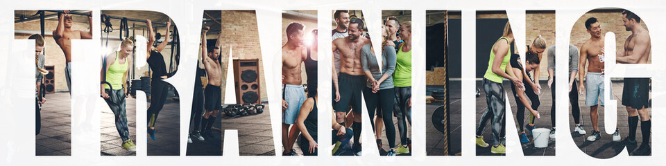 Collage of smiling young people training together at the gym