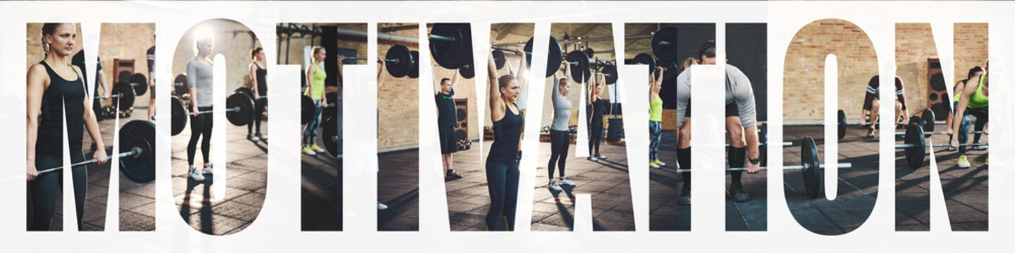 Collage of fit people weightlifting together in a gym