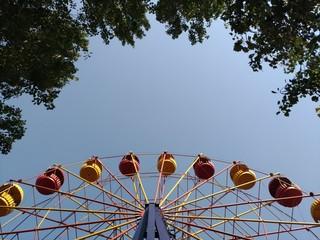 Ferris wheel, sky, foliage, fragments, frame