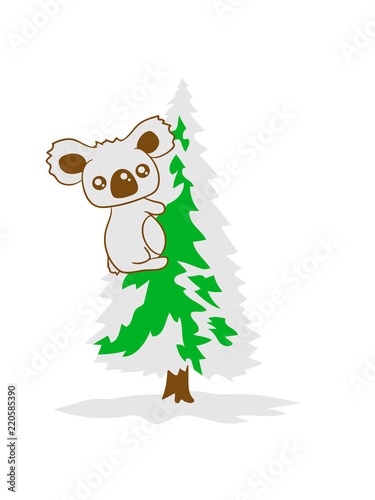 Clipart Tannenbaum Schwarz Weiß.Koala Klettern Bär Australien Weiß Grün Weihnachtsbaum Weihnachten