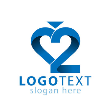 Love 2 number logo icon vector template