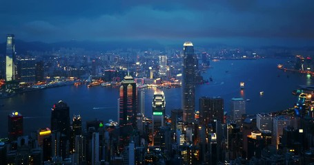 Fotomurales - Hong Kong city from the Victoria peak, China