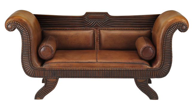 Leather brown sofa with clipping path