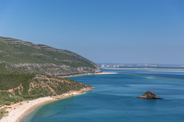 Amazing blue water beach in Arrábida, Alentejo in Portugal