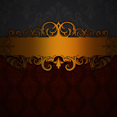 Wall Mural - Vintage background with golden border.