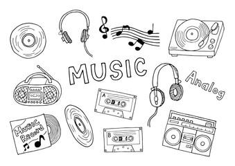 アナログ音楽のイラストセット(モノクロ)