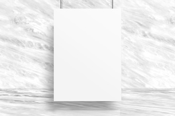 Blank poster hanging at studio room with marble wall and floor background,Mock up studio room for display or montage of product for advertising on media,Business presentation.