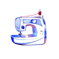 Watercolor hand drawn sketch illustration of sewing machine. Isolated on white background.