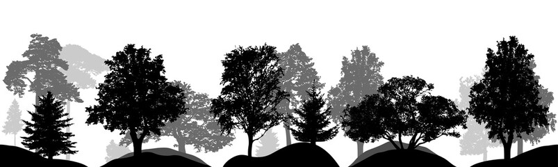 Set of trees, silhouettes isolated, vector