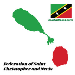 Map outline and flag of Saint Kitts and Nevis. A yellow edged black diagonal with star, the upper triangle is green and the lower is red. with name text Federation of Saint Christopher and Nevis.