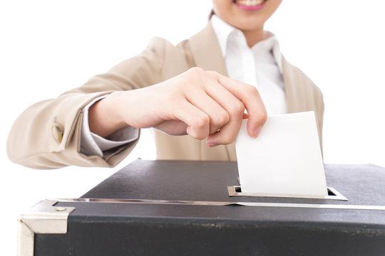 Woman voting image
