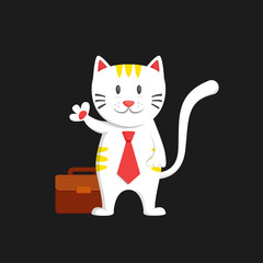 White business man cat say hallo waving hand cartoon character illustration