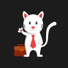 Cute white cat business man say hallo and waving hand cartoon character illustration