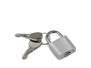 silver padlock with keys isolated on white background