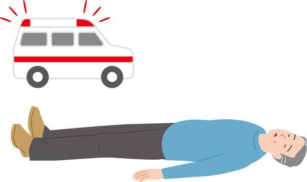 失神したシニアと救急車
