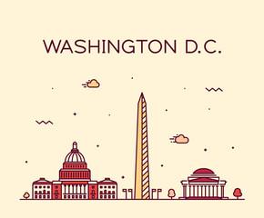 Fototapete - Washington D. C. USA vector linear art style city