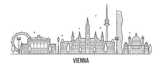 Fototapete - Vienna skyline, Austria big city building vector