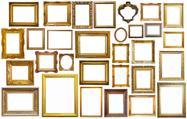 set of golden art frames