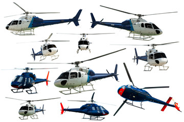 Collection of helicopters isolated
