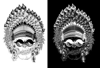 Stunning crown of feathers, sunglasses and a flower on a skull, repeating the Indian. Graphic illustration.