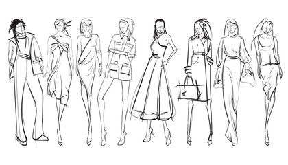 Stylish fashion models. Pretty young girls. Fashion girls SketchPrint