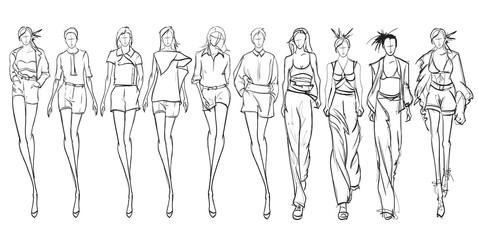 Stylish fashion models. Pretty young girls. Fashion girls Sketch Print