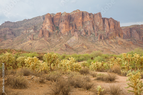 Superstition Mountains are an Arizona icon in the middle of