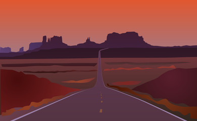 Arizona road landscape vector eps 10